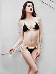 Bikini Da donna Tinta unita Uncinetto Con laccetti Elastene