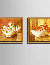 E-HOME® Framed Canvas Art Bowl Of Flowers Framed Canvas Print Set One Pcs