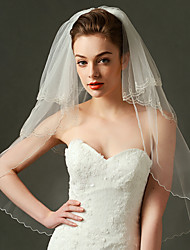 Wedding Veil Three-tier Elbow Veils Beaded Edge Organza