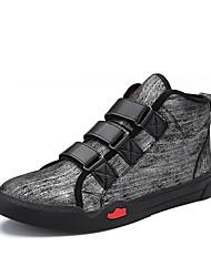 Men's Sneakers Spring Summer Fall Winter Comfort Microfibre PU Outdoor Office & Career Casual Athletic Hook & Loop Black Gray