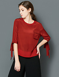 EWUS/Women's Going out Casual/Daily Simple Street chic Spring Summer T-shirtSolid Round Neck  Length Sleeve Pink Red Black Green Silk Thin