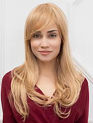 жен. Человеческие волосы без парики Мед блондинку Medium Auburn Длиный Прямые С чёлкой Боковая часть