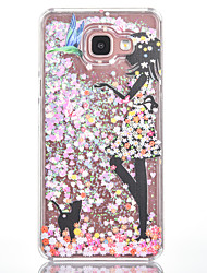 For Samsung Galaxy A7(2016) A5(2016) Case Cover Girls And Cats Pattern Small Fresh Series Love Quicksand Flash Powder Phone Case