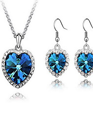 Jewelry 1 Necklace 1 Pair of Earrings Crystal Party Alloy 1set Women Blue Wedding Gifts