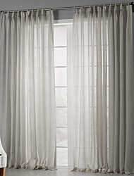 White Solid Minimalist Elegant Sheer Two Panels