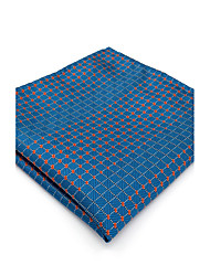 Mens Pocket Square Royal Blue Checked 100% Silk Business Dress Jacquard Woven For Men