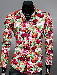 Men's Casual/Daily Simple Spring Fall Shirt,Floral Classic Collar Long Sleeves Cotton Polyester Thin
