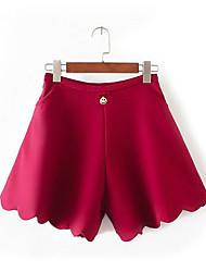 Femme Ample Short Pantalon,Sexy simple Mignon Sortie Décontracté / Quotidien Vacances Couleur Pleine Taille Haute ElasticitéCoton