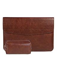 pour macbook air pro 11,3 12 13,3 15,4 sac d'ordinateur portable manches cuir PU couvercle du boîtier avec support stent avec un bloc