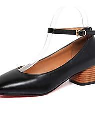 Women's Heels Spring Summer Fall Winter Comfort Light Soles PU Office & Career Casual Low Heel Chunky Heel Black Brown Green