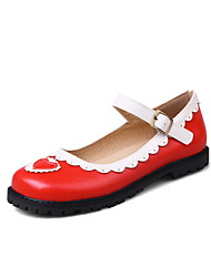 Women's Flats Spring Summer Fall Leatherette Casual Flat Heel Buckle Stitching Lace Black Red Blushing Pink