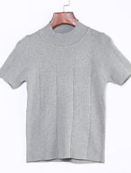 Damen Standard Pullover-Lässig/Alltäglich Street Schick Solide Weiß Schwarz Grau Rundhalsausschnitt Kurzarm Kunstseide Sommer Mittel