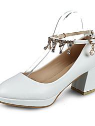 Damen-High Heels-Outddor-PU-Blockabsatz-Komfort-Schwarz Weiß