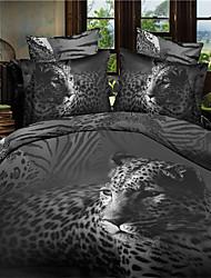 3D(random pattern) Duvet Cover Sets 4 Piece Polyester 3D Reactive Print Polyester Queen 1pc Duvet Cover 2pcs Shams 1pc Flat Sheet