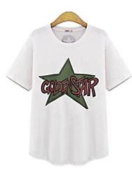 Tee-shirt Femme,Imprimé Grandes Tailles Chic de Rue Eté Manches Courtes Col Arrondi Blanc Gris Coton Moyen