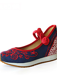Women's Heels Spring Summer Fall Comfort Novelty Canvas Outdoor Dress Casual Wedge Heel Flower Blue Walking
