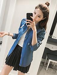 2017 printemps femmes&chemise denim chemise à manches longues veste korean fine chemise mince trou de marée de # 39;