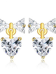 Zircon Color Love Bow Earrings