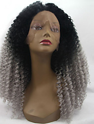 2 Tones Synthetic Lace Front Wig Gray Grey Silver Ombre Hand Tied Curly Wigs Dark Roots Natural Wig