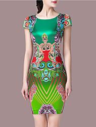 Femme Bohème Gaine Robe Sortie Grandes Tailles Vintage,Imprimé Col Arrondi Au dessus du genou Sans Manches Vert Polyester Eté Taille Normale