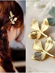 1 Pcs Three Leaf Edge Clip To Fashion A Word Alloy Headdress Woman Hair Accessory