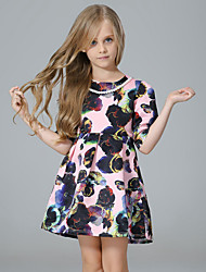 Girl's Floral Dress,Rayon Spring Fall ¾ Sleeve