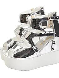 Women's Sandals Summer Fall Club Shoes PU Office & Career Dress Casual Wedge Heel Buckle Black White Walking