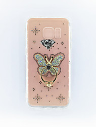For  Samsung S7 Rhinestone Ring Holder Translucent Case Back Cover Case Butterfly Hard PC