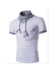 Tee-shirt Hommes,Couleur Pleine Décontracté / Quotidien simple Manches Courtes Col en V Bleu Blanc Noir Gris Coton
