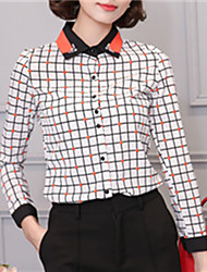 Fashion Long Sleeves Side Collar Houndstooth Upper Outer Garment Daily Leisure Wild Home Play Lace Shirt