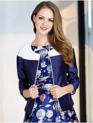 Damen Druck Einfach Lässig/Alltäglich Mantel,Frühling Herbst Rundhalsausschnitt Langarm Auf Links waschen Trocknen Standard Polyester