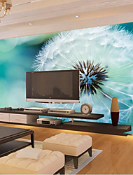 Art Deco Wallpaper For Home Wall Covering Canvas Adhesive required Mural White Dandelion on Blue Background XXXL(448*280cm)XXL(416*254cm)XL(312*219cm)