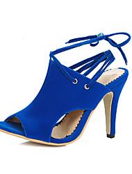 Damen-Sandalen-Büro Kleid Party & Festivität-Vlies-StöckelabsatzSchwarz Rot Blau