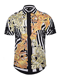 Men's Party Casual/Daily Club Street chic Active Punk & Gothic Summer Shirt,Print Shirt Collar Short Sleeves Polyester
