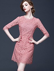 Women's Casual/Daily Formal Cute Sophisticated Lace Dress,Solid Lace Round Neck Above Knee ½ Length Sleeve Polyester Pink Black Spring