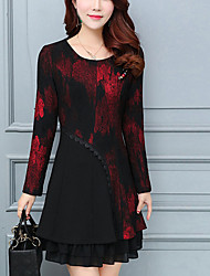 Women's Plus Size Going out Street chic A Line Dress,Print Round Neck Above Knee Long Sleeve Polyester Red Yellow Spring Fall Mid Rise