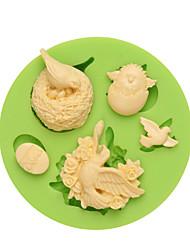 Série do ciclo de vida do pássaro que faz doces de chocolate molde do fondant silicone para a cor da argila do polímero aleatória