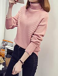 signer 2016 automne et en hiver nouvelle korean chemise à manches longues de couleur unie à col roulé chandail épais marée femme