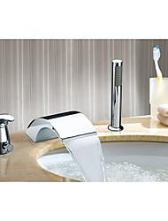 Contemporain Rustique Moderne Diffusion large Cascade with  Soupape céramique Mitigeur Trois trous for  Chrome , Robinet lavabo
