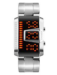 Hommes Montre Tendance Montre Bracelet Montre numérique Numérique LED Calendrier Etanche Alliage Bande Cool Noir Argent Noir Argent