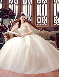 Ball Gown Scoop Floor Length Tulle Wedding Dress with Crystal Beading