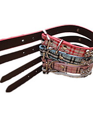 Dog Collar Adjustable/Retractable Bone Multicolor PU Leather