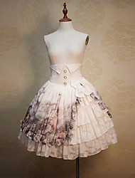 Skirt Sweet Lolita Classic/Traditional Lolita See Through Elegant Lace-up Princess Cosplay Lolita Dress White Floral Lolita Knee-length