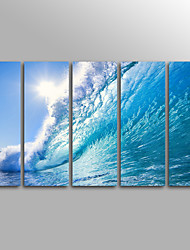 Canvas Set Unframed Canvas Print  Seascape  ModernBeach Wave Five Panels Canvas Vertical Print Wall Decor For Home Decoration