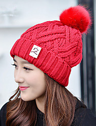 New Hat Z Letter Superscript Plus Villi Ball Single Cap Wool Hat Ms. Hooded Cap Knit Hat