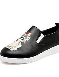 Women's Loafers & Slip-Ons Summer Fall Comfort Light Soles Leatherette Outdoor Athletic Dress Casual Black White