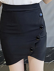 Feminino Saias-Bodycon Cor ÚnicaSexy Moda de Rua Cintura Alta Trabalho Assimétrico Botão Elasticidade Raiom Poliéster Elastano Stretchy