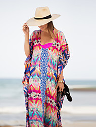 Women's Western Style U Neck Loose Beach Cover-Up Print Polyester/Chiffon