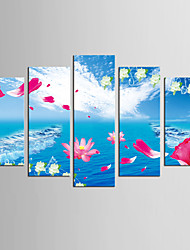 Canvas Set Abstract Floral/Botanical Modern Mediterranean,Five Panels Canvas Any Shape Print Wall Decor For Home Decoration