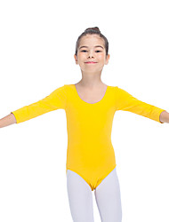 Ballet Leotards Women's Children's Training Cotton Lycra 1 Piece 3/4 Length Sleeve Long Sleeve Leotard
